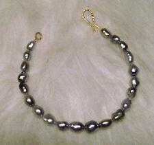 """Tahitian Black Silver Metallic Platinum 7"""" Natural Keshi Pearl 18K Bracelet"""