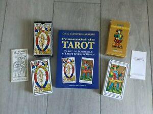 ☆ LOT EXCEPTIONNEL ☆ Ancien Tarot De Marseille 1981 + Oswald Wirth 1976 +livre