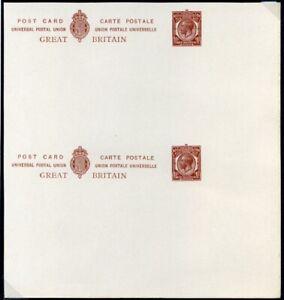 "1918 circa KGV Printed Postcards 1½d UNCUT ""Marginal"" Pair"