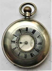 NO RESERVE c1890 Swiss Half Hunter Silver Pocket Watch Vintage Antique