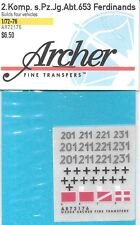 Archer 1/72 2 Company Pz.Jg..Abt .653 Ferdinand Transfers Decals AR72176