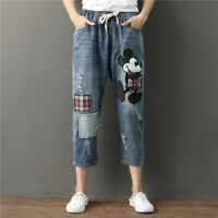 Jeans Women Mickey Mouse Boyfriend Denim Ripped Distressed Elastic Casual Pants