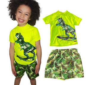 kids Boys dinosaur bright Camo swimming swim Beach shorts Trunks rash top Summer
