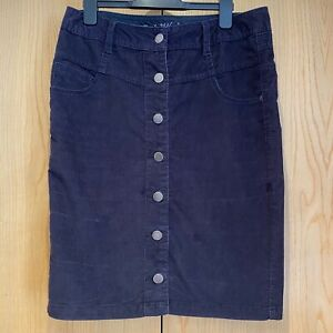 Next Dark Navy Blue Corduroy Skirt Size 10 Pincord High Waist Pencil Knee Length