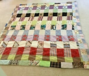 """Vintage Handmade Children's HANDMADE patchwork Quilt Denim 70"""" x 82"""""""