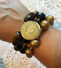 Dyrberg Kern Designer Bracelet Beads With Tiger Eye Stunning Chunky