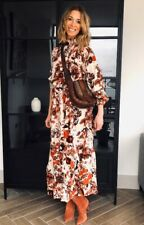 BNWT H&M FLORAL DRESS Midi Maxi With Stand collar size 18 46 Sold out Floaty