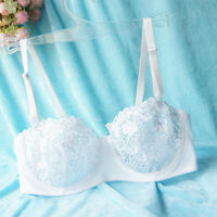 Womens Sheer Lace Embroider Lingerie Plunge Bra Non Padded Bras Bralette A B C D