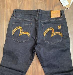 Evisu Jeans new Men Size 34 Indigo Blue with orange Seagull, Premium Denim