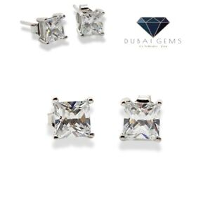 White gold finish Princess cut created diamond stud earrings Perfect Gift by Mez