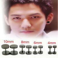 2PCS Round Barbell Men's Stainless Steel  Earring Punk Gothic Ear Studs 4 Sizes