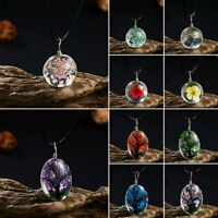 Natural Dried Flower Trees Real Rose Round Glass Pendant Necklace Locket Charm