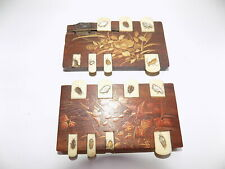 New Listing2 x Antique Japanese Rosewood Shibayama Whist Marker Decorated With Insects