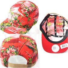 New Era 5 panel cap, island print red baseball flat peak hats, hip hop exclusive