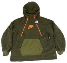 Nike Sportswear Pullover Sherpa Hoodie Women's Olive Canvas Orange Hoody M