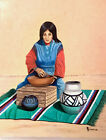 "Southwest Pueblo Pottery Original oil painting on canvas 20""x16"" framed"