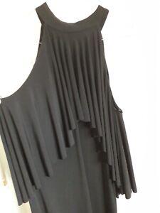 John zack cold shoulder Black Stretch Layer dress 14 BNWL