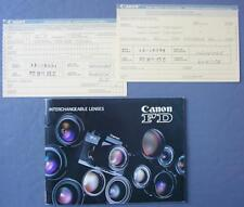 Original Manual For Canon Fd Interchangeable Lenses & 2 Registration Cards