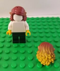 New LEGO Elf Hair with Ears  Minifigure Long Two Tone Friends Curly Wavy Red