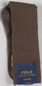 Polo Ralph Lauren Brown Dress Socks Green Pony Super Soft NWT