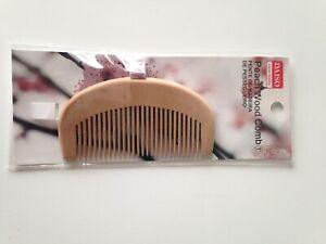 "Daiso Wooden Beard Comb 4"" Inch Anti-Static Peach Wood Facial Face Hair"