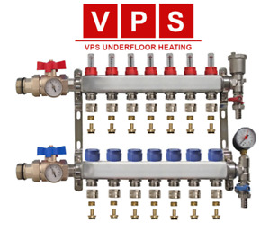 2-12 Zone Underfloor Heating Manifold with Eurocones, Valves & Gauge options