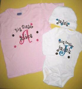 Personalized Big/Little Sister Big/Little Brother T SHIRT & BODYSUIT / HAT SET