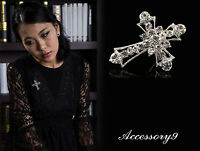 2pc clear crystal Rhinestone cross christian silver tone Crucifix Brooch pin D32