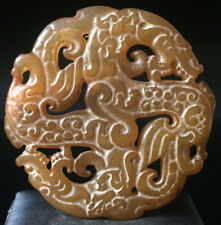 Chinese old rare jade hand-carved pendant necklace statue Dragon G233