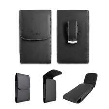Black Leatherette Case Pouch Belt Holster w Clip for TMobile Coolpad REVVL Plus