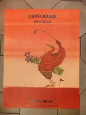 Affiche Lithographie Caricature Golf Jean Paul Griffouliere XXème Siècle