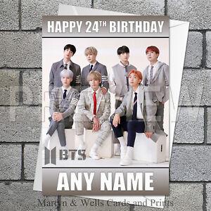 BTS birthday card: Bangtan Boys. 5x7 inches. Kpop. Personalised, plus envelope.