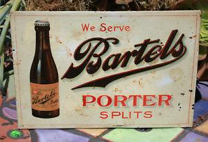 1906 <Dated> Bartels Porter Tin over Cardboard Beer Sign, Wilkes-Barre, PA