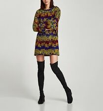 ZARA Embroidered Dress L Long Sleeve Floral Print Textured Fabric Boho Look