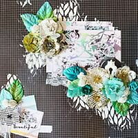 Handmade BEAUTIFUL Prima Mixed Media Collage 12x12 Premade Scrapbook Layout Page