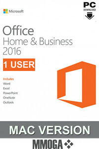 Microsoft Office 2016 Home and Business (1 Nutzer) - MAC Version - DE/EU