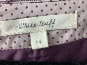 White Stuff Purple Print Wool Blend Womens Size Uk 14 Knee Length Dress Vgc #BE