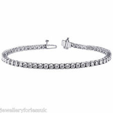 "18Carat White Gold Diamond Tennis Bracelet 4claw 1.00cts 7.25""Inches Hallmarked"