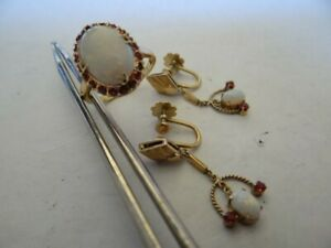 Fine Vintage 18K Gold Fire Opal Rubies Ring And Earrings Set