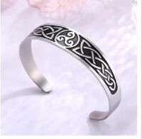 Solid Stainless Steel Triskelion Celtic Knot Bracelet Cuff