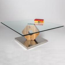 Couchtisch Felino Wildeiche massiv Säule mit Klarglas Bodenplatte aus Edelstahl