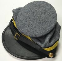 CIVIL WAR CSA CONFEDERATE GREY WOOL OFFICER FORAGE CAP HAT-XLARGE