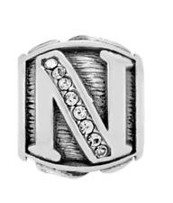 Brighton Alphabet Alpha N Bead Swarovski Crystals Silver Plated Spacer Retired