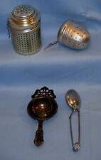 LOT 4 VTG TEA/SPICE STRAINER INFUSER/Steeper Drip Bowl//Aluminum LG Acorn/Spoon!