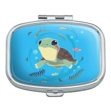 Cute Turtle Swimming with Fish Rectangle Pill Case Trinket Gift Box