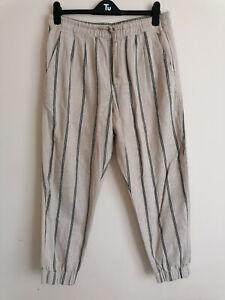 NEW Zara Striped Cotton Cropped Joggers Size L