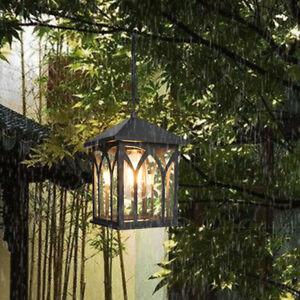 Vintage Loft Square Metal Lantern Glass Outdoor Garden Ceiling Pendant Lights