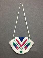Vintage Noble Handbags White Leather Purse Green Rose Womens Shoulder Bag Vtg