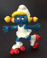 Vintage ROLLERSKATING SMURFETTE PVC Figure The Smurfs Peyo Schleich Schtroumpfs