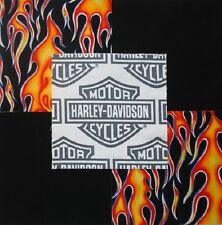 "30 6"" HARLEY DAVIDSON Shield Logo biker Red/Orange flames Quilt Fabric Squares"